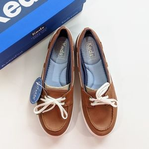 Keds Glimmer Leather Brown Boat Shoes Women's 6.5